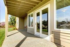 Backyard walkout deck Stock Image