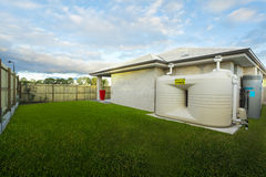 Backyard with water tank. Of Australian townhouse Stock Photo