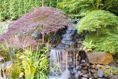 Backyard Waterfall with Trees Stock Photo