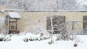 Backyard winter scene stock video footage