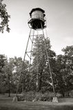 Backyard wood water tower(black and white) Stock Photos