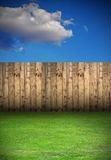 Backyard with wooden fence Royalty Free Stock Photos