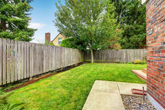 Backyard with wooden fence and walkway. Backyard with green lawn and tree stock images