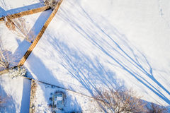 Backyards and fences aerial view Stock Photos