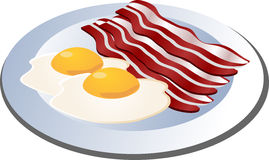 Baco and eggs. Bacon and eggs on a plate isometric illustration Stock Photos