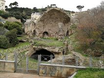 Bacoli - Temple of Diana. Bacoli, Naples, Campania, Italy - April 11, 2018: Remains of the Temple of Diana in the Archaeological Area of Baia Stock Photo