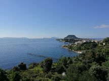 Panorama from the castle of Baia. Bacoli, Naples, Campania, Italy - June 16, 2018: Panoramic view of Bacoli and Capo Miseno from the Aragonese Castle of Baia Royalty Free Stock Photos