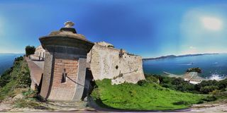 360 overview from the castle guard of Baia Castle. Bacoli, Naples, Campania, Italy - June 16, 2018: Photo spherical from the garret of the Aragonese Castle of Royalty Free Stock Photos