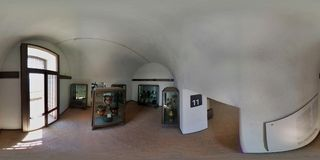 360 overview of the museum rooms. Bacoli, Naples, Campania, Italy - June 16th 2018: Spherical photo of the rooms of the Aragonese Castle of Baia where the Royalty Free Stock Image
