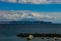 Bacoli, view of the Gulf of Pozzuoli with Vesuvius and the islet of Nisida royalty free stock photography