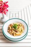 Bacon Aglio olio pasta. With garlic and chilli Royalty Free Stock Photo