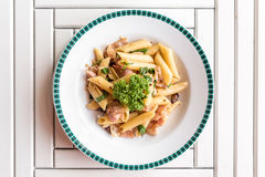Bacon Aglio olio pasta. With garlic and chilli Royalty Free Stock Photography