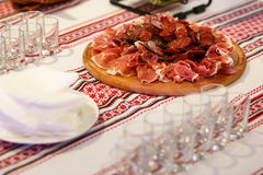 Bacon appetizer on the table Stock Photo