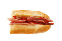 Bacon baguette with ketchup Royalty Free Stock Photography