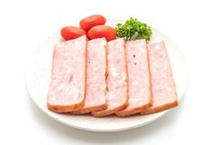 Bacon barbecue sliced. Isolated on white background royalty free stock image