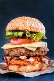 Bacon and beef burger Stock Photos