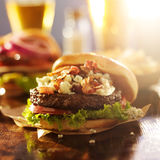 Bacon and bleu cheese gourmet hamburger Royalty Free Stock Images