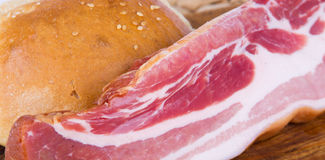 Bacon with bread Royalty Free Stock Photos