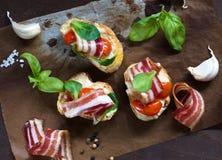 Bacon bruschetta Royalty Free Stock Photos