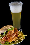 Bacon Burger and Beer Stock Image
