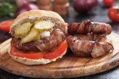 Bacon burger sandwich Royalty Free Stock Image