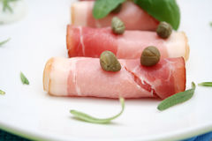 Bacon and capers Royalty Free Stock Image