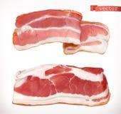 bacon Carne fresca, grupo do ícone do vetor 3d ilustração royalty free