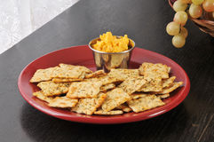 Bacon cheddar cheese spread and crackers Stock Images