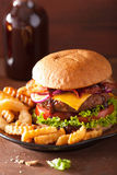 Bacon cheese burger with beef patty tomato onion Stock Images