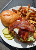 Bacon cheese burger with a side of fries Stock Images