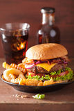 Bacon cheese hamburger with beef patty tomato onion Stock Photography