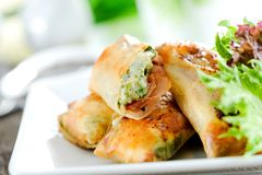 Springroll. Bacon cheese springroll  for dinner Royalty Free Stock Photography