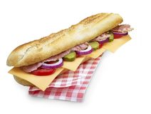Bacon cheese submarine sandwich with clipping path isolated on white Stock Photos