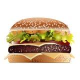 Bacon cheeseburger. Solated on white stock illustration