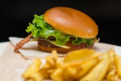 Free Bacon Cheeseburger With French Fries Royalty Free Stock Photos - 126164758