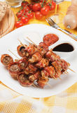 Bacon, chicken and mushroom kebab skewer Royalty Free Stock Photo