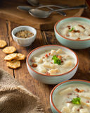 Bacon Clam Chowder. Delicious home made bacon clam chowder with oyster crackers Royalty Free Stock Photos