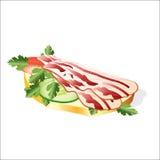 Bacon com verdes e vegetais ilustração do vetor