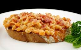 Bacon cortado e Beand Fotografia de Stock