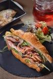 Bacon Croissant Rocket bun stock photos