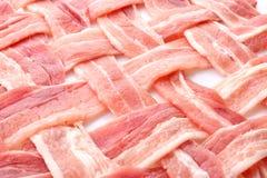 Bacon crudo come fondo, primo piano fotografie stock libere da diritti