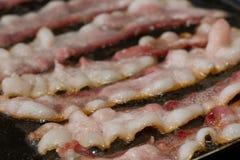 Bacon die op een rooster sissen stock afbeelding