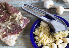 Bacon e alho Imagem de Stock