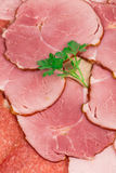 Bacon e carne desbastados na placa Fotografia de Stock