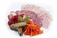 Bacon e vegetais da salsicha Fotografia de Stock