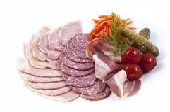 Bacon e vegetais da salsicha Fotografia de Stock Royalty Free
