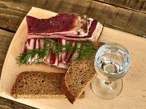 Bacon e vidro da vodca Fotos de Stock Royalty Free