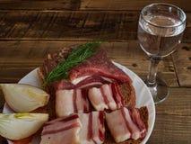 Bacon e vidro da vodca Fotos de Stock