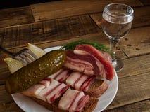 Bacon e vidro da vodca Imagem de Stock Royalty Free