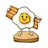 Bacon , egg and bread. Cartoon illustration stock illustration